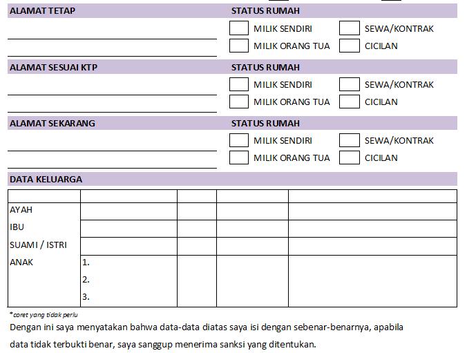 Contoh Form Penerimaan Karyawan